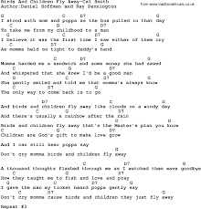 country birds and children fly away cal smith lyrics and chords