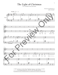 the light of christmas high low duet j w pepper sheet music