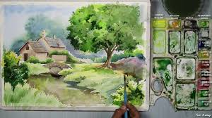 watercolor painting a house landscape step by step youtube