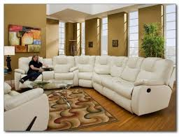 Sofa With Chaise And Recliner by Modern White Leather Reclining Sectional Sofa Chaise Console With