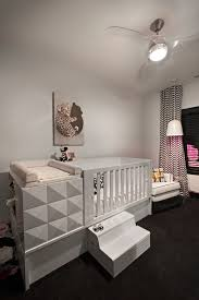crib changing table combo in nursery modern with next to black and