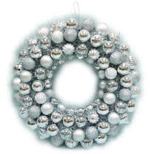 home accents 20 in shatterproof ornament wreath in silver