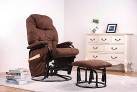 merax brown luxury suede fabric nursery glider rocking chair 360