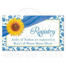 wedding registry for house wedding registry card sunflower blue damask floral