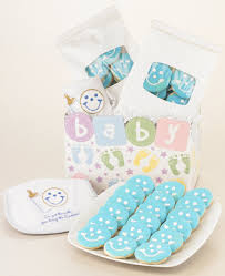 baby boy cookie gift baskets smiley cookies and baby bib