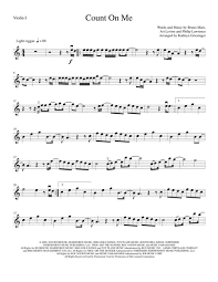 Count On Me Bruno Mars Piano Pdf Count On Me String Quartet Sheet By Bruno Mars