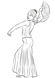 spanish woman dancing flamenco coloring page free printable