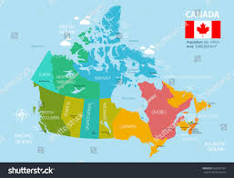 Map Of Canada With Provinces by Political Map Canada Regions Provinces Highly Stock Vector