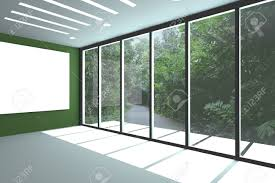 glass door wall office interior rendering with empty room color wall and decorated
