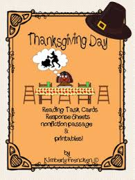 nonfiction thanksgiving reading task cards passages with printables