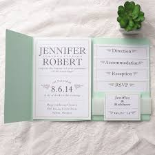 pocket wedding invites modern green vellum band pocket wedding invites iwpi017 wedding