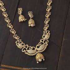 fashion jewelry gold necklace images Gold plated haram with jhumka south india jewels jpg