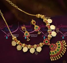 gold beaded necklace india images Nl8151 south indian laxmi god coin beaded necklace gold design JPG