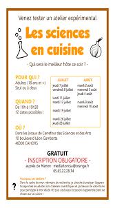 cuisine scientifique un atelier scientifique sur la cuisine des bourians