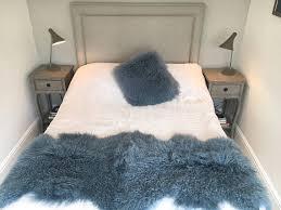 Sheepskin Runner Rug Mid Blue Swedish Blue Long Luxury Tibetan Sheepskin Bed Throw