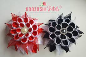 kanzashi flower hair barrette diy and white ribbon flower