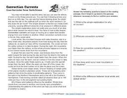 convection currents reading worksheets spelling grammar