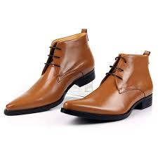 pointed toe men ankle boots tan men dress boots high quality