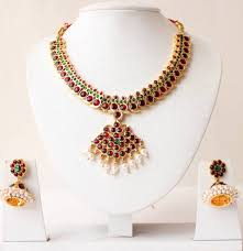 beautiful gold necklace set images Buy beautiful gold tone kemp green temple necklace set dj15844 online jpg