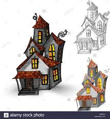 halloween monsters isolated spooky haunted houses set stock vector