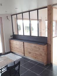 cuisine facade cuisine façade chêne à noeud et plan de travail en chêne vieilli