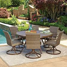 Rattan Patio Dining Set 7pc All Weather Wicker Outdoor Patio Dining Set W 60