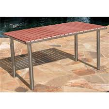 Stainless Steel Patio Table Vifah Stainless Steel Frame Wood Composite Outdoor Rectangular