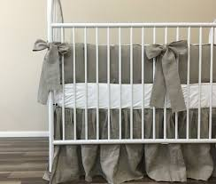 Nursery Bedding Set Linen Baby Bedding Set With Sash Ties Rustic Nursery Charm