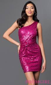 short sequin one shoulder pink party dresses promgirl