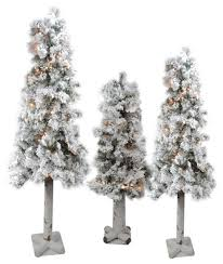 3 flocked woodland alpine artificial trees 3 4 5