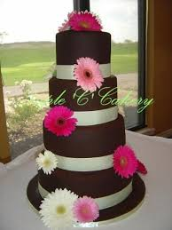 chocolate brown wedding cake with gerberas cakecentral com