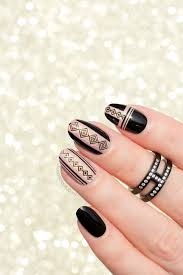 black and gold geo nail design plus how to