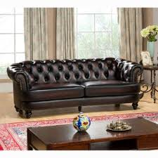 Leather Couches And Loveseats Abbyson Grand Chesterfield Brown Top Grain Leather 2 Piece Living