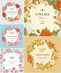 vintage cards vintage cards with roses vector vector graphics