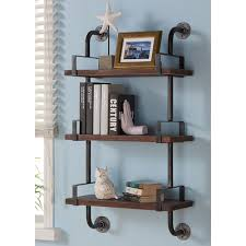 Floating End Table by Trent Austin Design Industrial Walnut Wood Floating Wall Shelf