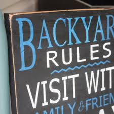 backyard rules sign personalized wooden sign hand painted