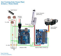 visual schematic arduino solar panel with sun tracking sensor