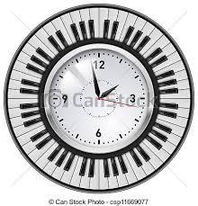 horloge de bureau clés réaliste piano horloge bureau bureau illustration