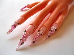 fun with acrylic nail art stiletto nails with 3d acrylic flowers