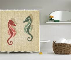 showerroom bathroom good looking seahorses nautical curtain for shower room