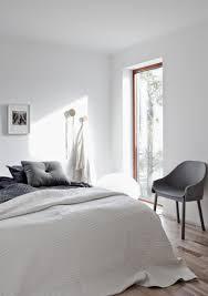 beautiful white and gray minimalist bedroom i n t e r i o r