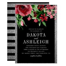 Red And Black Wedding Invitations Black Red And Silver Wedding Invitations U0026 Announcements Zazzle