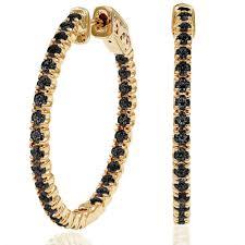 black diamond hoop earrings out hoop black diamond earrings in 14k yellow gold
