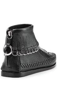 alexander wang leather moccasin ankle boots black women alexander