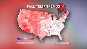 World Temperature Map October by Fall Temperature Trends Climate Central