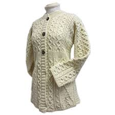 100 irish merino wool ladies a line aran sweater by carriag donn