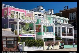 Beach House Usa - picture photo row of colorful beach houses santa monica los
