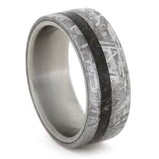 titanium band meteorite wedding band dinosaur bone ring titanium ring