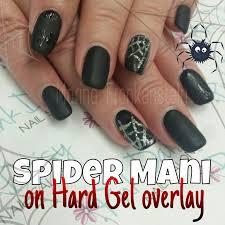 halloween spider spiderweb matte black nail art nail design on cnd