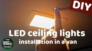 rv 12v light fixtures led ceiling panel lights installation in a van conversion diy